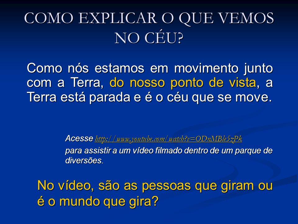 COMO EXPLICAR O QUE VEMOS NO CÉU? Acesse http://www.youtube.com/watch?v=ODnMBle5zPk http://www.youtube.com/watch?v=ODnMBle5zPk para assistir a um víde