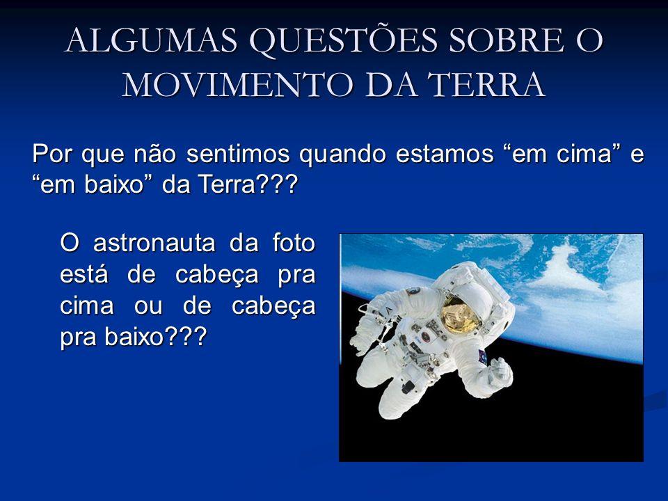 ALGUMAS QUESTÕES SOBRE O MOVIMENTO DA TERRA Por que não sentimos quando estamos em cima e em baixo da Terra??? O astronauta da foto está de cabeça pra