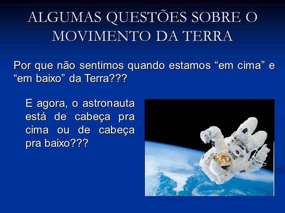 ALGUMAS QUESTÕES SOBRE O MOVIMENTO DA TERRA Por que não sentimos quando estamos em cima e em baixo da Terra??? E agora, o astronauta está de cabeça pr