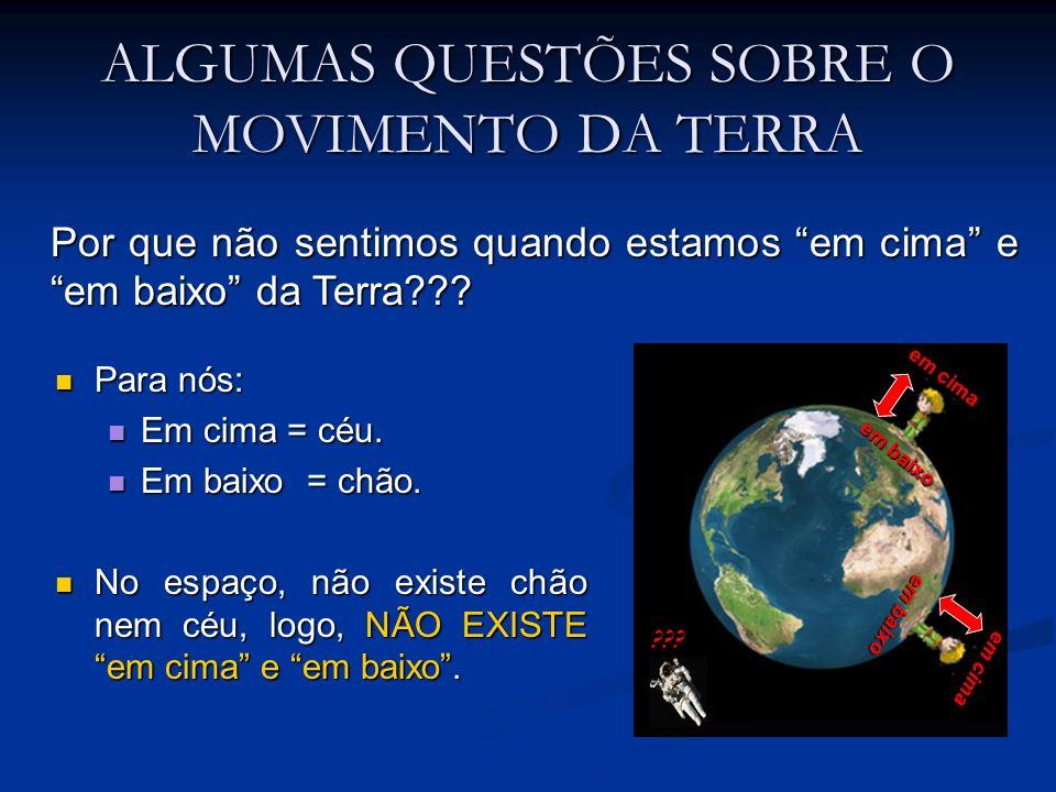 ALGUMAS QUESTÕES SOBRE OS MOVIMENTOS DA TERRA Por que não sentimos os movimentos da Terra.