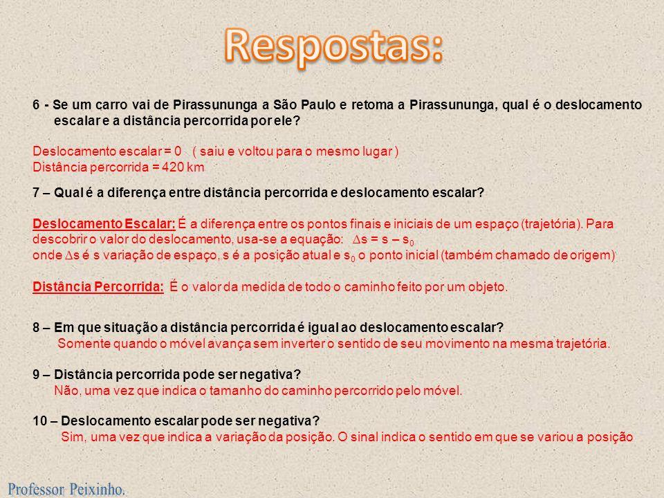 6 - Se um carro vai de Pirassununga a São Paulo e retoma a Pirassununga, qual é o deslocamento escalar e a distância percorrida por ele? Deslocamento