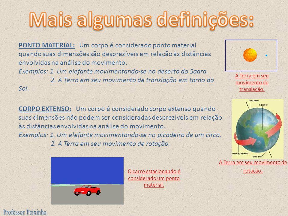 PONTO MATERIAL: Um corpo é considerado ponto material quando suas dimensões são desprezíveis em relação às distâncias envolvidas na análise do movimen
