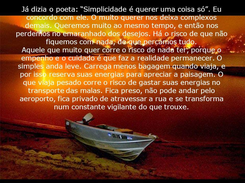 Já dizia o poeta: Simplicidade é querer uma coisa só. Eu concordo com ele. O muito querer nos deixa complexos demais. Queremos muito ao mesmo tempo, e