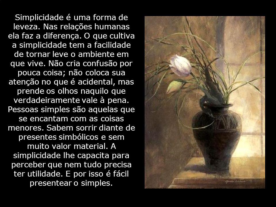 Simplicidade é uma forma de leveza. Nas relações humanas ela faz a diferença. O que cultiva a simplicidade tem a facilidade de tornar leve o ambiente