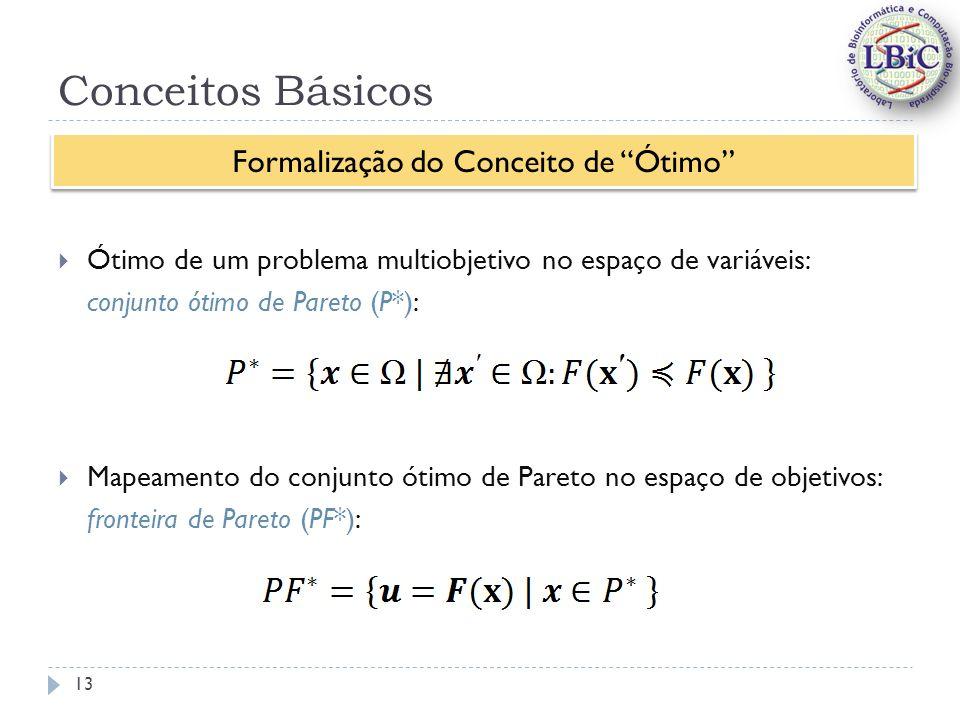 Conceitos Básicos Ótimo de um problema multiobjetivo no espaço de variáveis: conjunto ótimo de Pareto (P*): Mapeamento do conjunto ótimo de Pareto no espaço de objetivos: fronteira de Pareto (PF*): Formalização do Conceito de Ótimo 13
