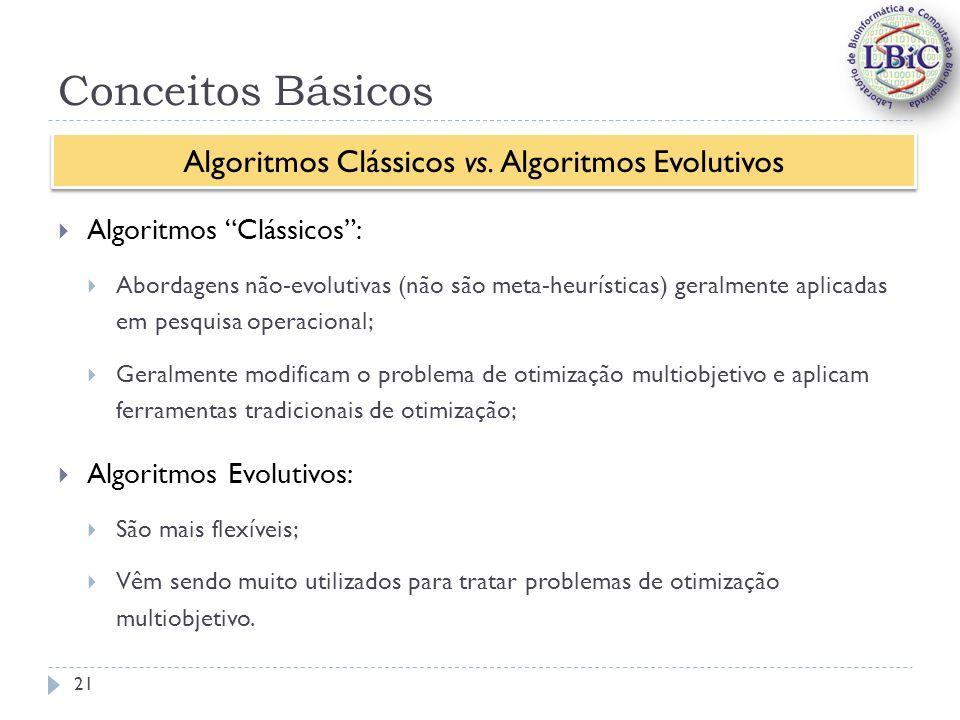Conceitos Básicos Algoritmos Clássicos: Abordagens não-evolutivas (não são meta-heurísticas) geralmente aplicadas em pesquisa operacional; Geralmente modificam o problema de otimização multiobjetivo e aplicam ferramentas tradicionais de otimização; Algoritmos Evolutivos: São mais flexíveis; Vêm sendo muito utilizados para tratar problemas de otimização multiobjetivo.