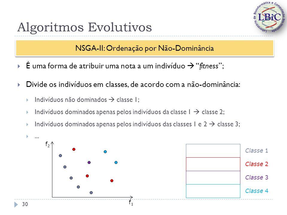 Algoritmos Evolutivos É uma forma de atribuir uma nota a um indivíduo fitness; Divide os indivíduos em classes, de acordo com a não-dominância: Indivíduos não dominados classe 1; Indivíduos dominados apenas pelos indivíduos da classe 1 classe 2; Indivíduos dominados apenas pelos indivíduos das classes 1 e 2 classe 3;...
