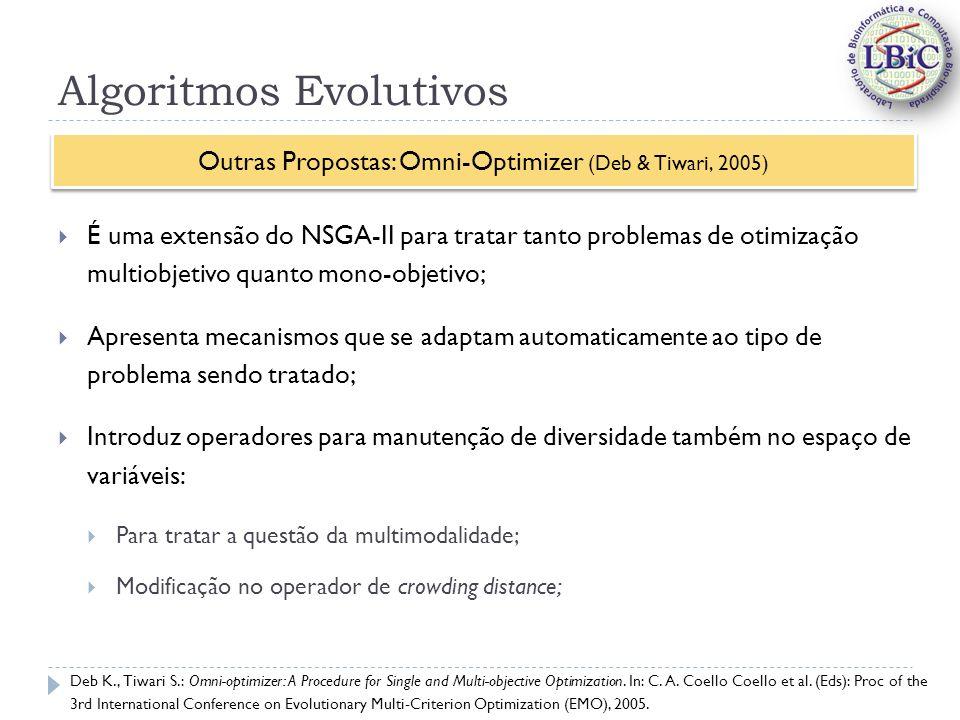 Algoritmos Evolutivos É uma extensão do NSGA-II para tratar tanto problemas de otimização multiobjetivo quanto mono-objetivo; Apresenta mecanismos que se adaptam automaticamente ao tipo de problema sendo tratado; Introduz operadores para manutenção de diversidade também no espaço de variáveis: Para tratar a questão da multimodalidade; Modificação no operador de crowding distance; Outras Propostas: Omni-Optimizer (Deb & Tiwari, 2005) Deb K., Tiwari S.: Omni-optimizer: A Procedure for Single and Multi-objective Optimization.