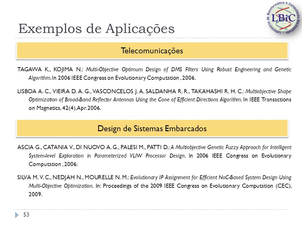 Exemplos de Aplicações TAGAWA K., KOJIMA N.: Multi-Objective Optimum Design of DMS Filters Using Robust Engineering and Genetic Algorithm. In 2006 IEE