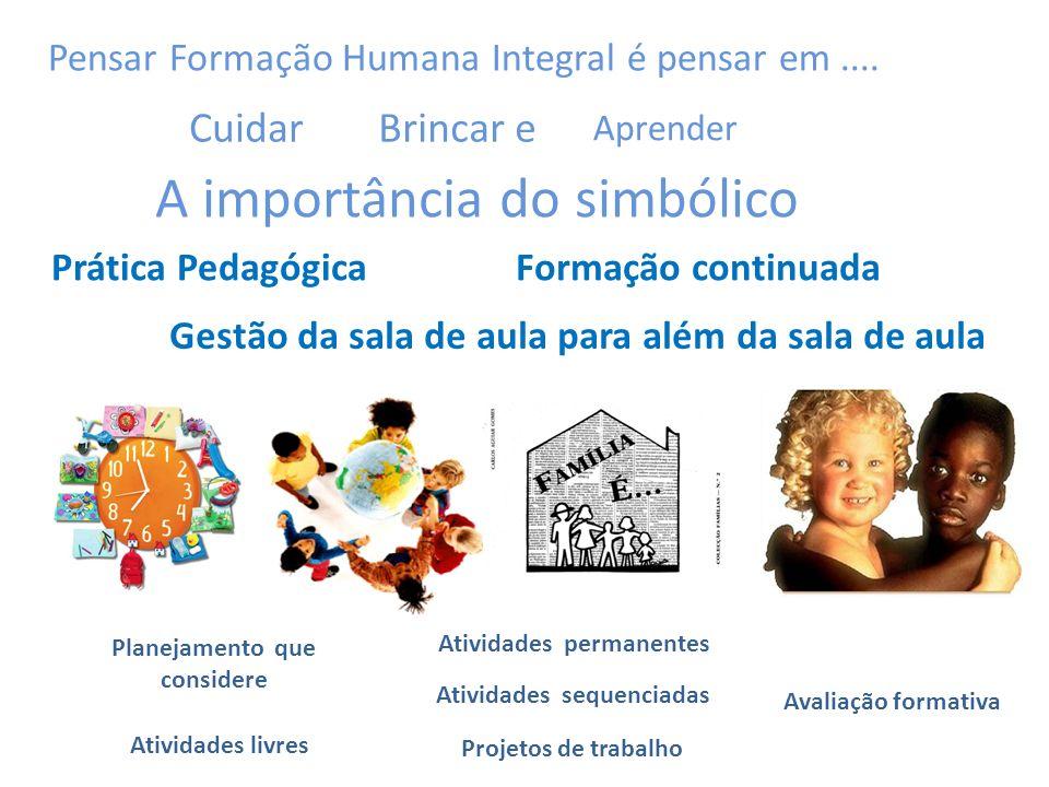 A importância do simbólico Pensar Formação Humana Integral é pensar em....