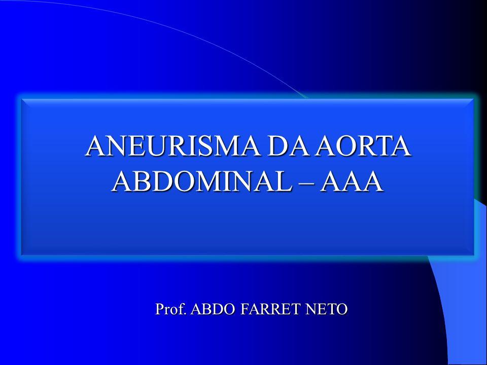 ANEURISMA DA AORTA ABDOMINAL – AAA Prof. ABDO FARRET NETO