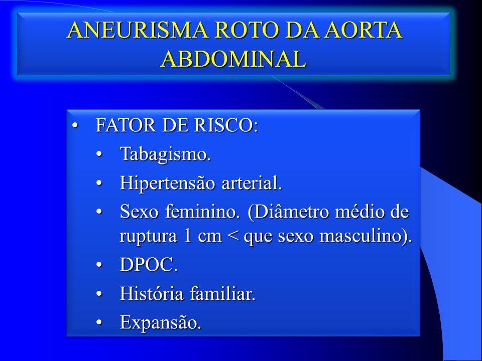 ANEURISMA ROTO DA AORTA ABDOMINAL FATOR DE RISCO:FATOR DE RISCO: Tabagismo.Tabagismo.