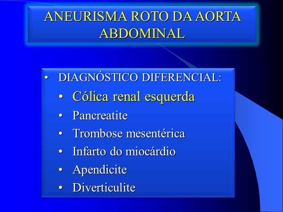 ANEURISMA ROTO DA AORTA ABDOMINAL DIAGNÓSTICO DIFERENCIAL:DIAGNÓSTICO DIFERENCIAL: Cólica renal esquerdaCólica renal esquerda PancreatitePancreatite Trombose mesentéricaTrombose mesentérica Infarto do miocárdioInfarto do miocárdio ApendiciteApendicite DiverticuliteDiverticulite DIAGNÓSTICO DIFERENCIAL:DIAGNÓSTICO DIFERENCIAL: Cólica renal esquerdaCólica renal esquerda PancreatitePancreatite Trombose mesentéricaTrombose mesentérica Infarto do miocárdioInfarto do miocárdio ApendiciteApendicite DiverticuliteDiverticulite