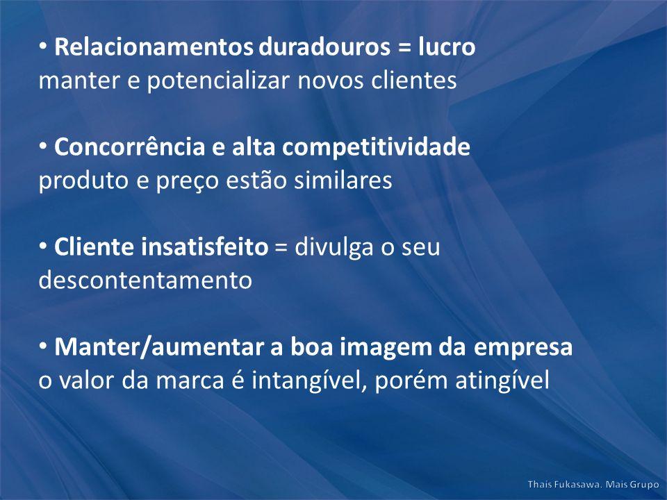 Relacionamentos duradouros = lucro manter e potencializar novos clientes Concorrência e alta competitividade produto e preço estão similares Cliente i