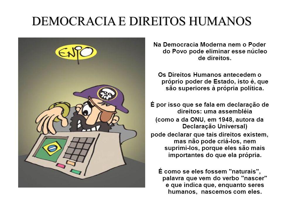 Na Democracia Moderna nem o Poder do Povo pode eliminar esse núcleo de direitos. Os Direitos Humanos antecedem o próprio poder de Estado, isto é, que