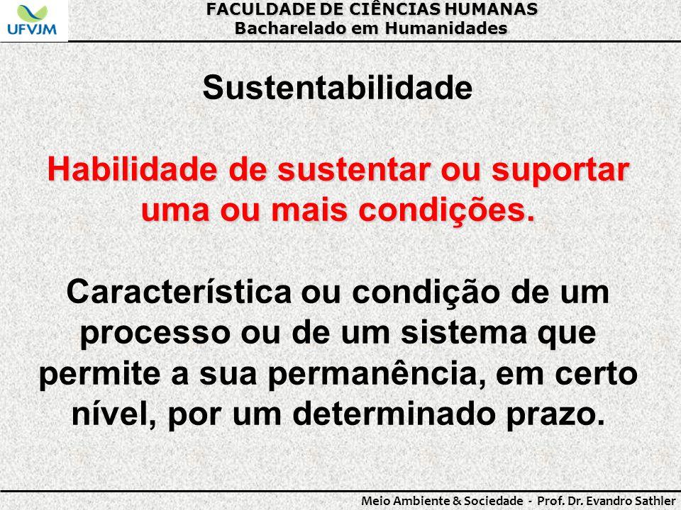 FACULDADE DE CIÊNCIAS HUMANAS Bacharelado em Humanidades Meio Ambiente & Sociedade - Prof. Dr. Evandro Sathler Sustentabilidade Habilidade de sustenta
