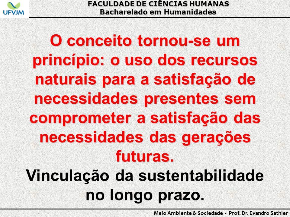 FACULDADE DE CIÊNCIAS HUMANAS Bacharelado em Humanidades Meio Ambiente & Sociedade - Prof. Dr. Evandro Sathler O conceito tornou-se um princípio: o us