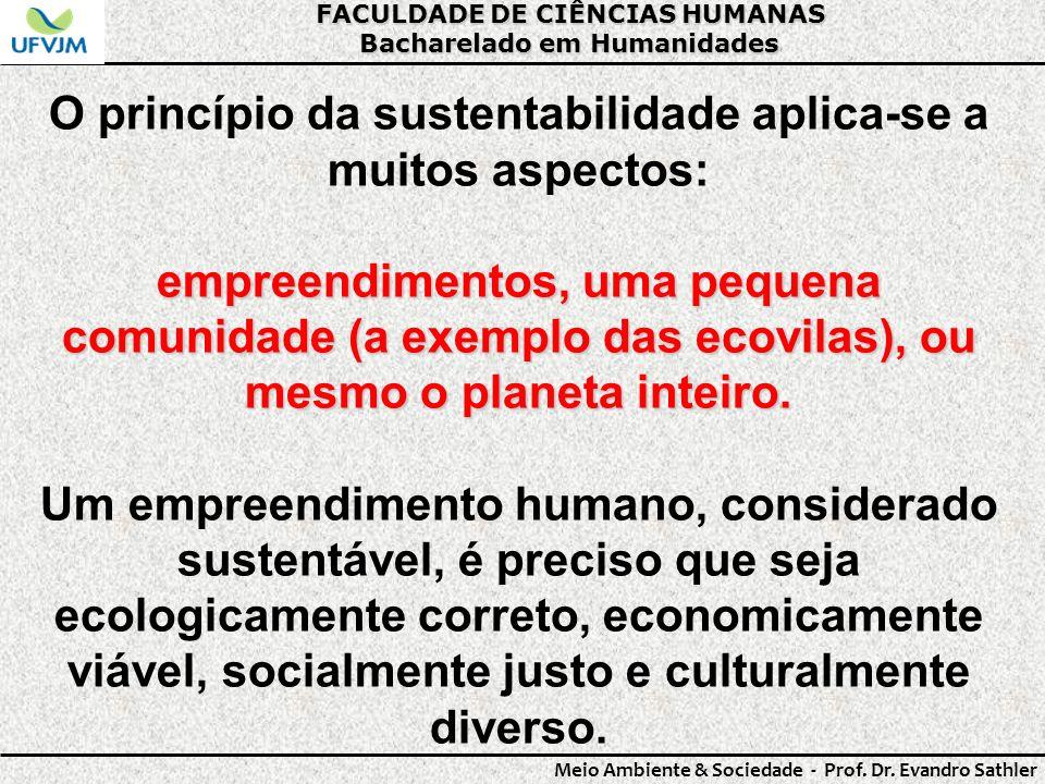FACULDADE DE CIÊNCIAS HUMANAS Bacharelado em Humanidades Meio Ambiente & Sociedade - Prof. Dr. Evandro Sathler O princípio da sustentabilidade aplica-