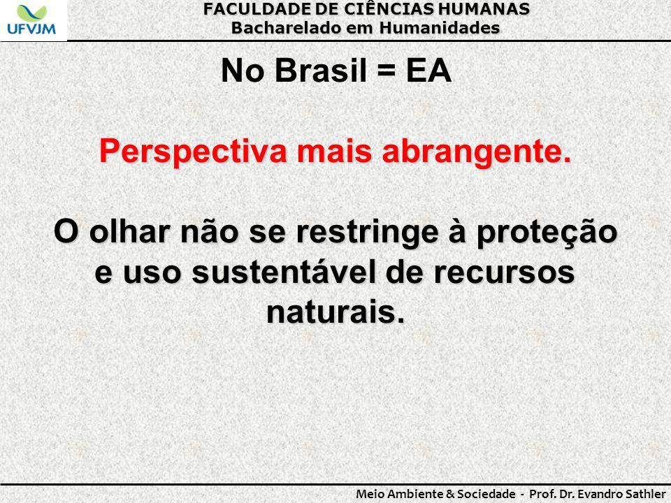 FACULDADE DE CIÊNCIAS HUMANAS Bacharelado em Humanidades Meio Ambiente & Sociedade - Prof. Dr. Evandro Sathler No Brasil = EA Perspectiva mais abrange