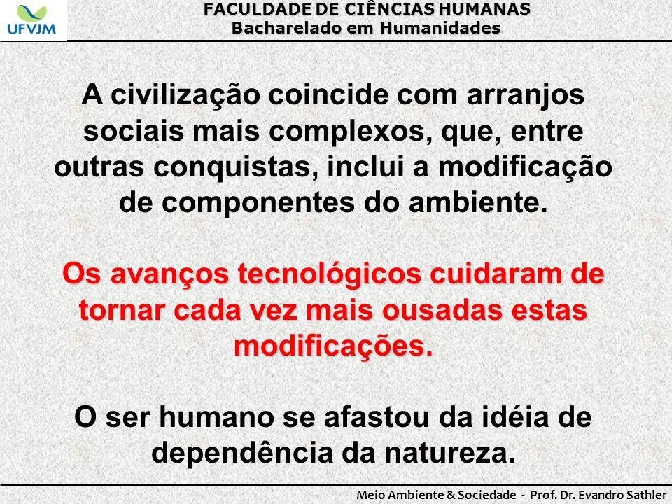 FACULDADE DE CIÊNCIAS HUMANAS Bacharelado em Humanidades Meio Ambiente & Sociedade - Prof. Dr. Evandro Sathler A civilização coincide com arranjos soc
