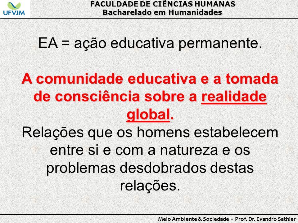FACULDADE DE CIÊNCIAS HUMANAS Bacharelado em Humanidades Meio Ambiente & Sociedade - Prof. Dr. Evandro Sathler EA = ação educativa permanente. A comun