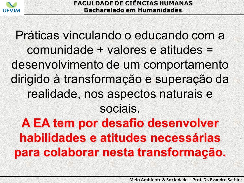 FACULDADE DE CIÊNCIAS HUMANAS Bacharelado em Humanidades Meio Ambiente & Sociedade - Prof. Dr. Evandro Sathler Práticas vinculando o educando com a co