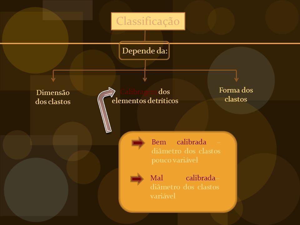 Classificação Depende da: Dimensão dos clastos Forma dos clastos Calibragem dos elementos detríticos Bem calibrada – diâmetro dos clastos pouco variável Mal calibrada– diâmetro dos clastos variável