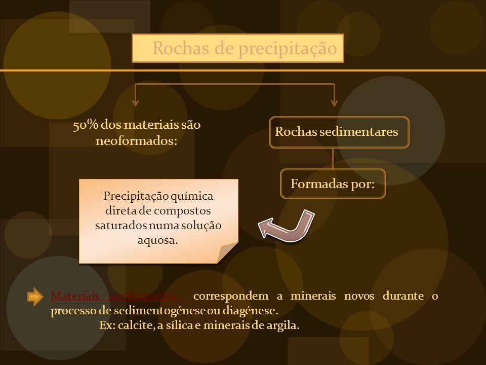 Rochas de precipitação 50% dos materiais são neoformados: Rochas sedimentares Formadas por: Precipitação química direta de compostos saturados numa solução aquosa.