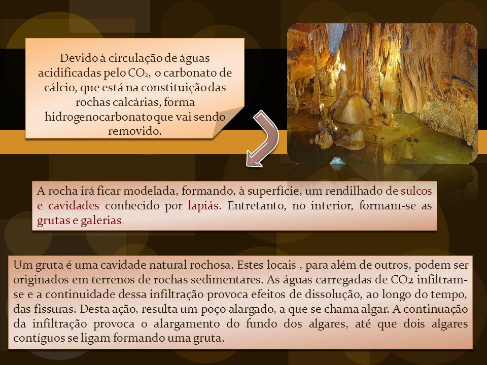 Devido à circulação de águas acidificadas pelo CO 2, o carbonato de cálcio, que está na constituição das rochas calcárias, forma hidrogenocarbonato que vai sendo removido.