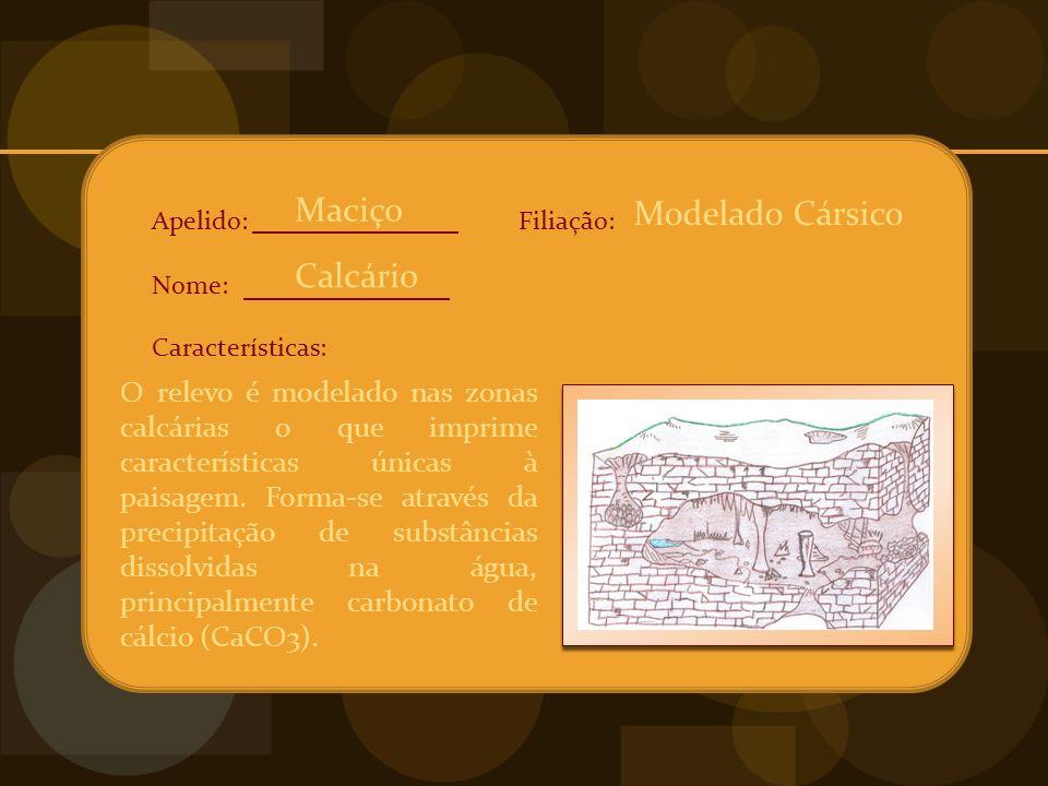 Apelido: Nome: Características: Filiação: O relevo é modelado nas zonas calcárias o que imprime características únicas à paisagem.