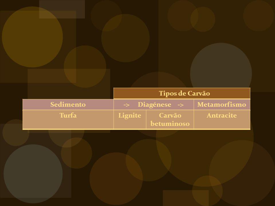Tipos de Carvão Sedimento-> Diagénese ->Metamorfismo TurfaLigniteCarvão betuminoso Antracite