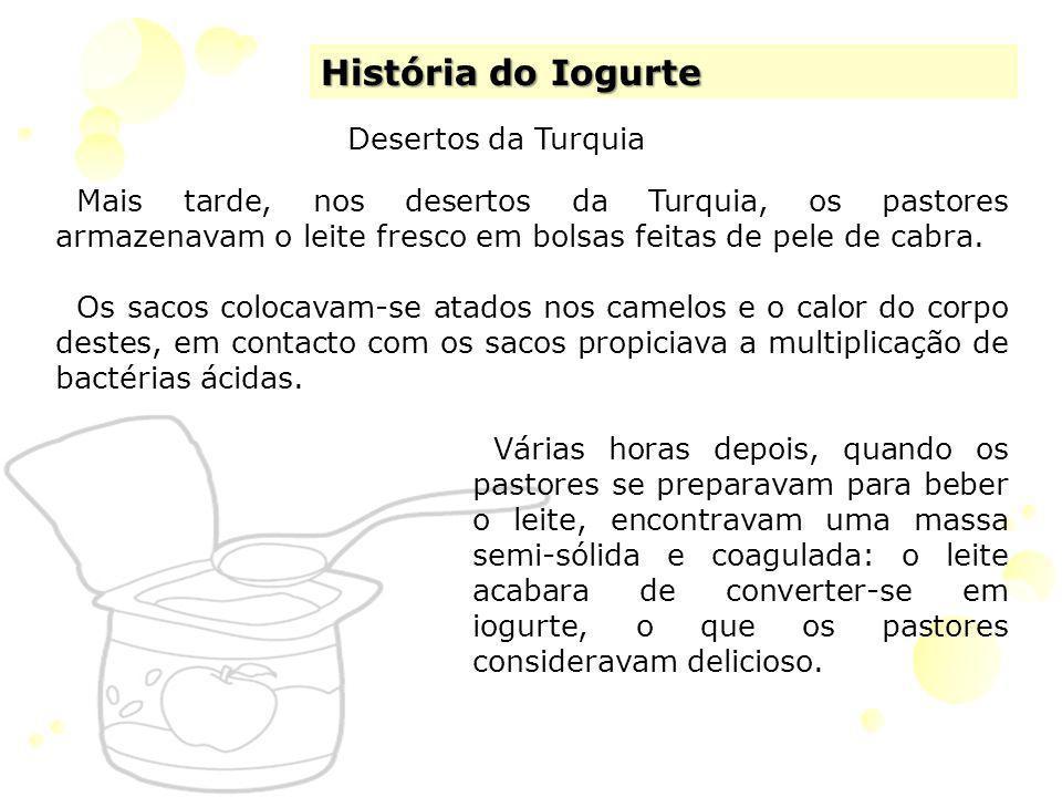 História do Iogurte Desertos da Turquia Mais tarde, nos desertos da Turquia, os pastores armazenavam o leite fresco em bolsas feitas de pele de cabra.