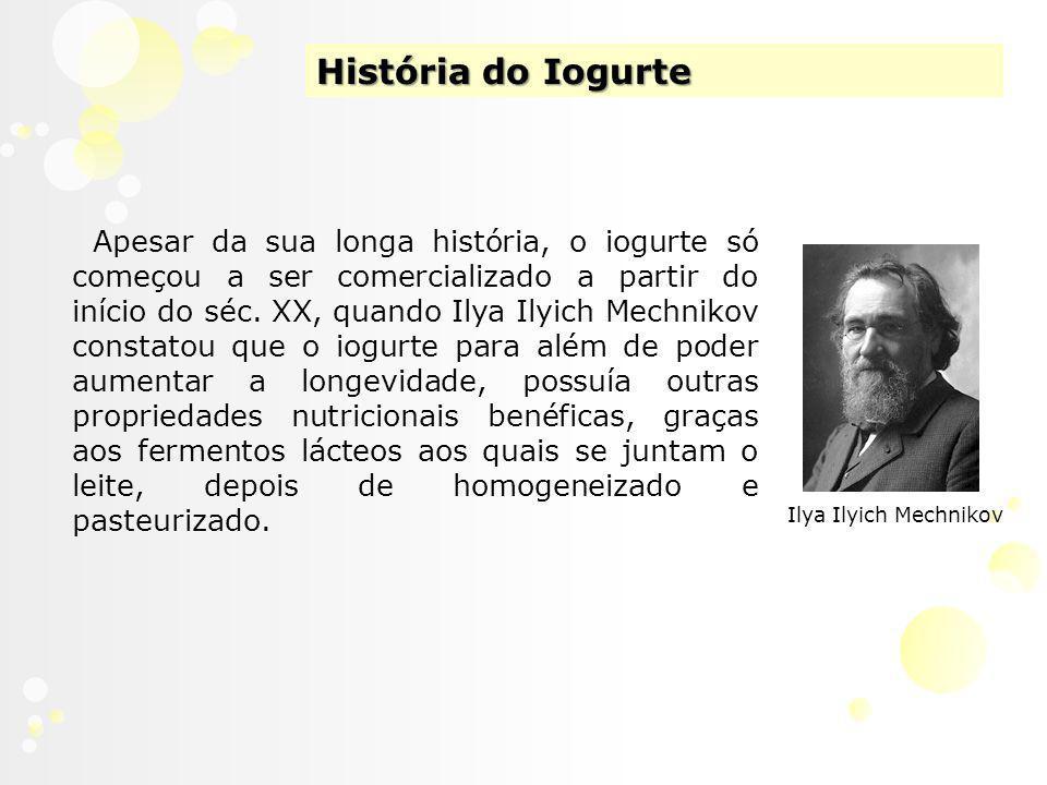 História do Iogurte Apesar da sua longa história, o iogurte só começou a ser comercializado a partir do início do séc.