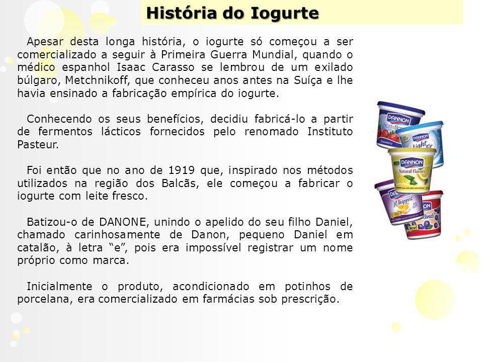 História do Iogurte Apesar desta longa história, o iogurte só começou a ser comercializado a seguir à Primeira Guerra Mundial, quando o médico espanhol Isaac Carasso se lembrou de um exilado búlgaro, Metchnikoff, que conheceu anos antes na Suíça e lhe havia ensinado a fabricação empírica do iogurte.