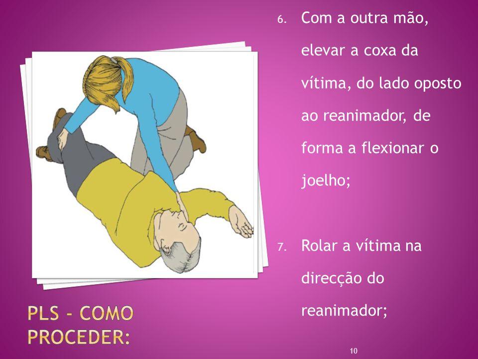6. Com a outra mão, elevar a coxa da vítima, do lado oposto ao reanimador, de forma a flexionar o joelho; 7. Rolar a vítima na direcção do reanimador;