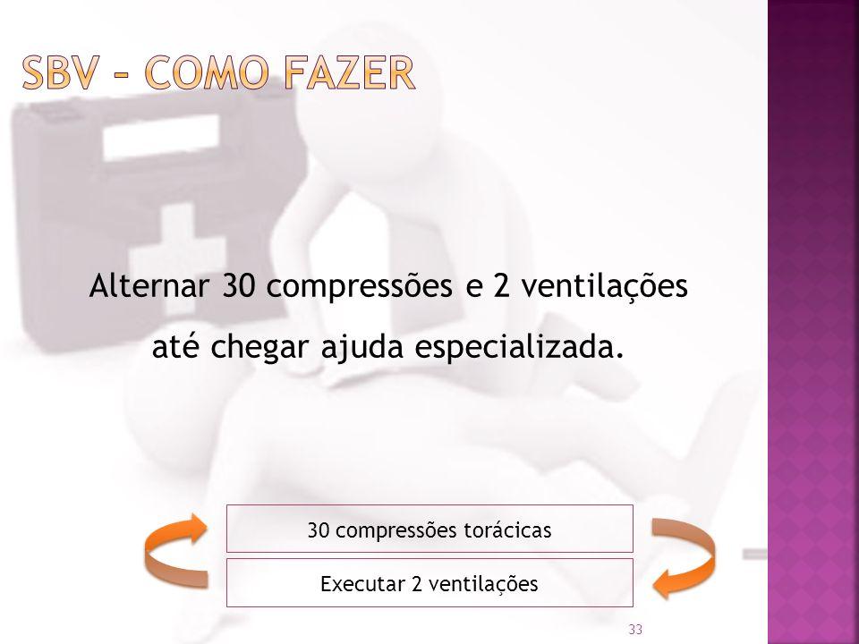 30 compressões torácicas Executar 2 ventilações Alternar 30 compressões e 2 ventilações até chegar ajuda especializada. 33