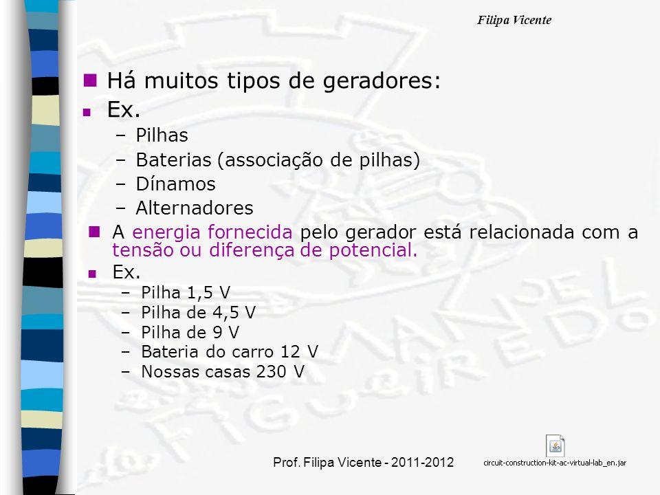 Filipa Vicente Prof. Filipa Vicente - 2011-2012 nHnHá muitos tipos de geradores: nEnEx. –P–Pilhas –B–Baterias (associação de pilhas) –D–Dínamos –A–Alt
