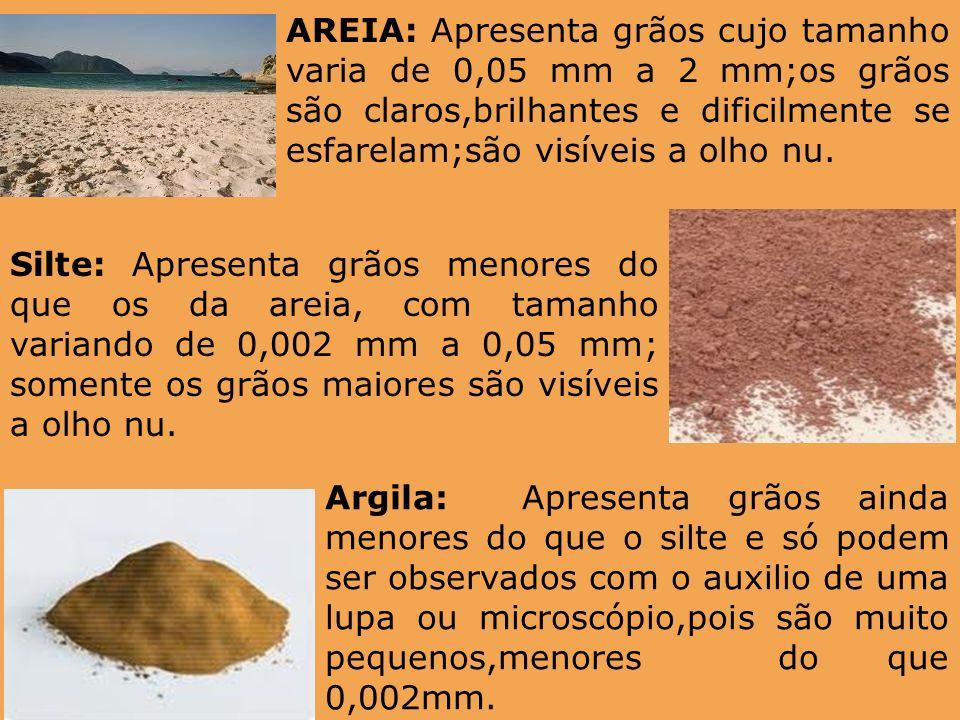 AREIA: Apresenta grãos cujo tamanho varia de 0,05 mm a 2 mm;os grãos são claros,brilhantes e dificilmente se esfarelam;são visíveis a olho nu. Silte: