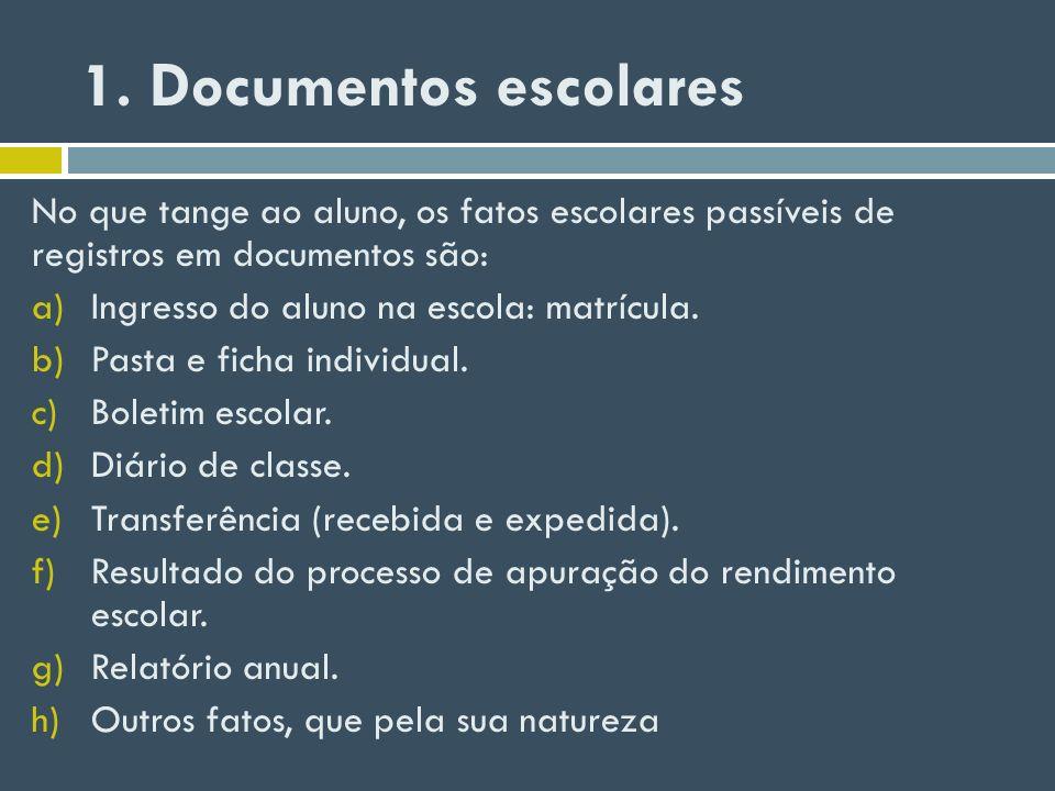 1. Documentos escolares No que tange ao aluno, os fatos escolares passíveis de registros em documentos são: a)Ingresso do aluno na escola: matrícula.