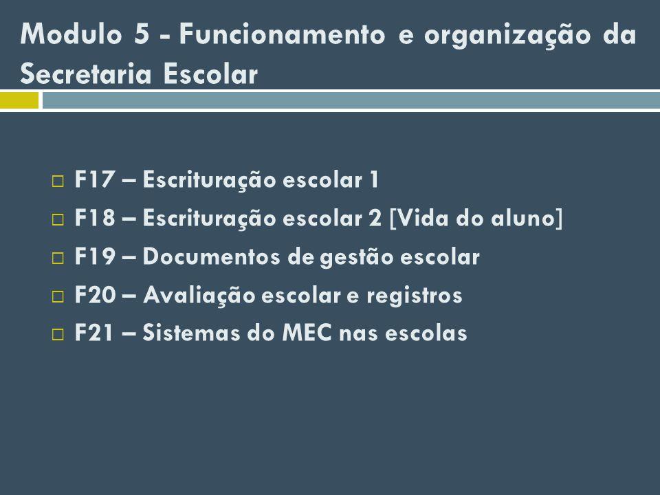Modulo 5 - Funcionamento e organização da Secretaria Escolar F17 – Escrituração escolar 1 F18 – Escrituração escolar 2 [Vida do aluno] F19 – Documento