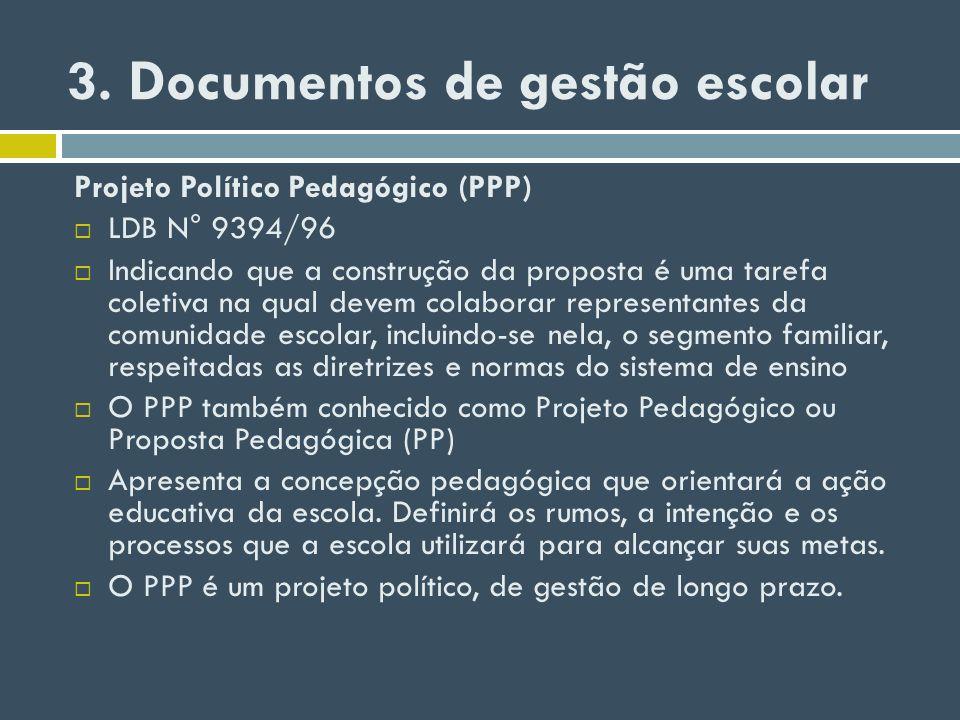 3. Documentos de gestão escolar Projeto Político Pedagógico (PPP) LDB N° 9394/96 Indicando que a construção da proposta é uma tarefa coletiva na qual