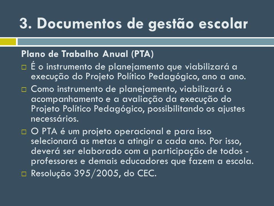 3. Documentos de gestão escolar Plano de Trabalho Anual (PTA) É o instrumento de planejamento que viabilizará a execução do Projeto Político Pedagógic