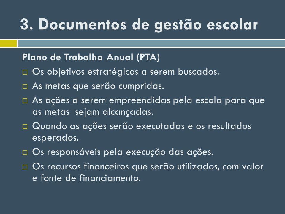 3. Documentos de gestão escolar Plano de Trabalho Anual (PTA) Os objetivos estratégicos a serem buscados. As metas que serão cumpridas. As ações a ser