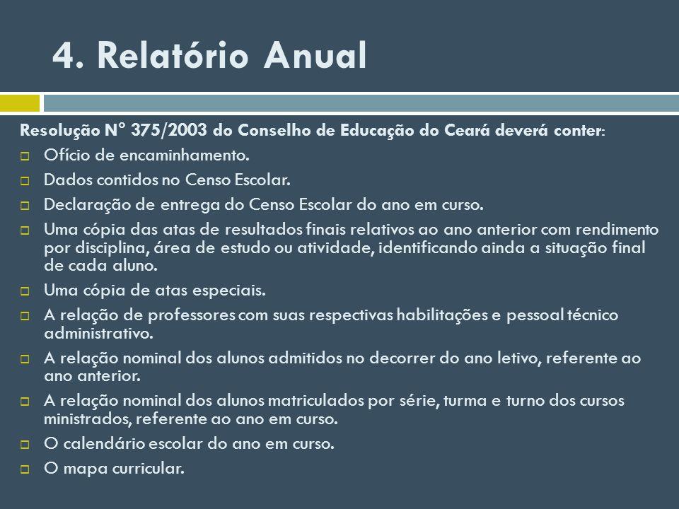 4. Relatório Anual Resolução N° 375/2003 do Conselho de Educação do Ceará deverá conter: Ofício de encaminhamento. Dados contidos no Censo Escolar. De