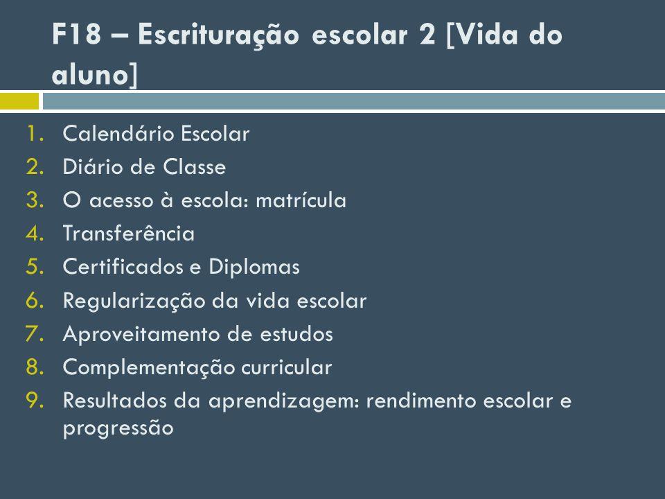 1.Calendário Escolar 2.Diário de Classe 3.O acesso à escola: matrícula 4.Transferência 5.Certificados e Diplomas 6.Regularização da vida escolar 7.Apr