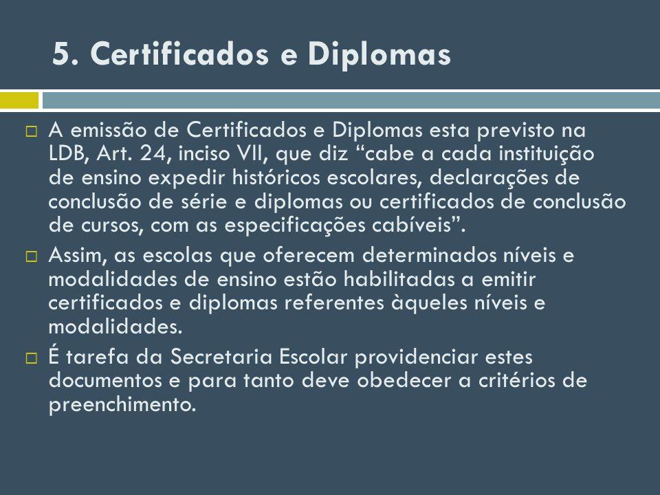 5. Certificados e Diplomas A emissão de Certificados e Diplomas esta previsto na LDB, Art. 24, inciso VII, que diz cabe a cada instituição de ensino e