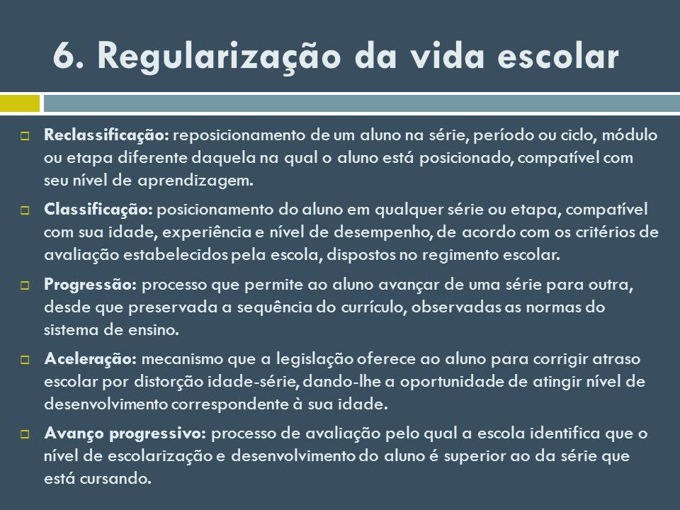 6. Regularização da vida escolar Reclassificação: reposicionamento de um aluno na série, período ou ciclo, módulo ou etapa diferente daquela na qual o