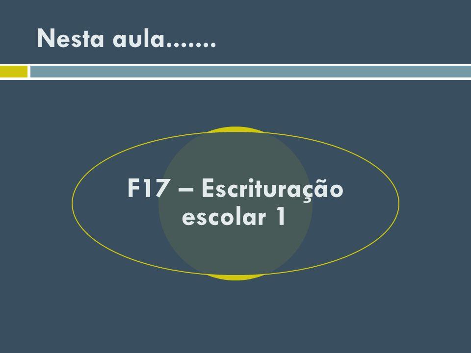 Nesta aula....... F17 – Escrituração escolar 1