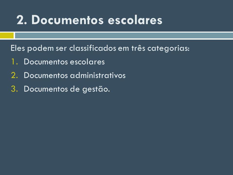 2. Documentos escolares Eles podem ser classificados em três categorias: 1.Documentos escolares 2.Documentos administrativos 3.Documentos de gestão.