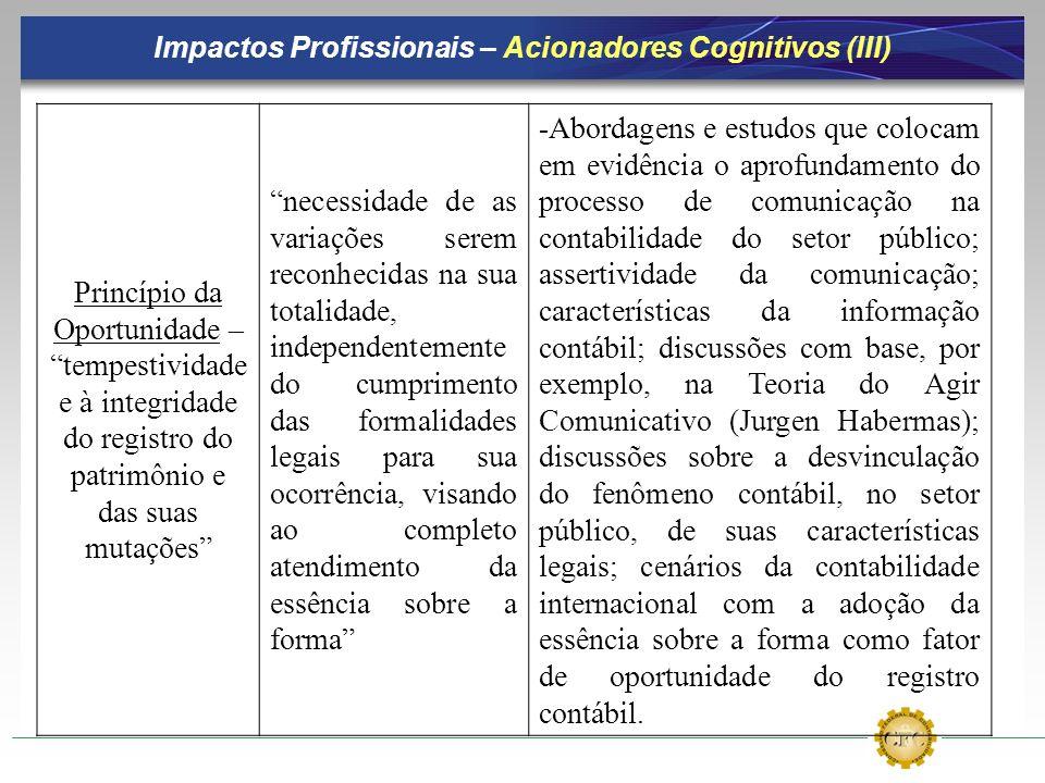 Impactos Profissionais – Acionadores Cognitivos (III) Princípio da Oportunidade – tempestividade e à integridade do registro do patrimônio e das suas